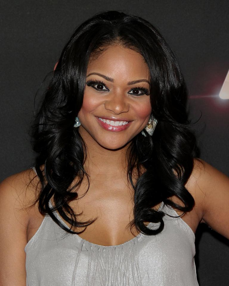 "Erica Hubbard arrives at BET's ""The Game"" and ""Let's Stay Together"" premiere party at the Hollywood Roosevelt Hotel on January 5, 2012 in Hollywood, California."