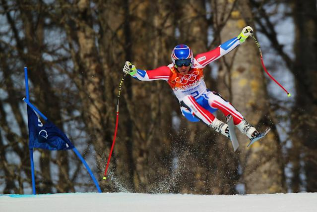 SOCHI, RUSSIA - FEBRUARY 16: Thomas Mermillod Blondin of France skis during the Alpine Skiing Men's Super-G on day 9 of the Sochi 2014 Winter Olympics at Rosa Khutor Alpine Center on February 16, 2014 in Sochi, Russia. (Photo by Clive Rose/Getty Images)