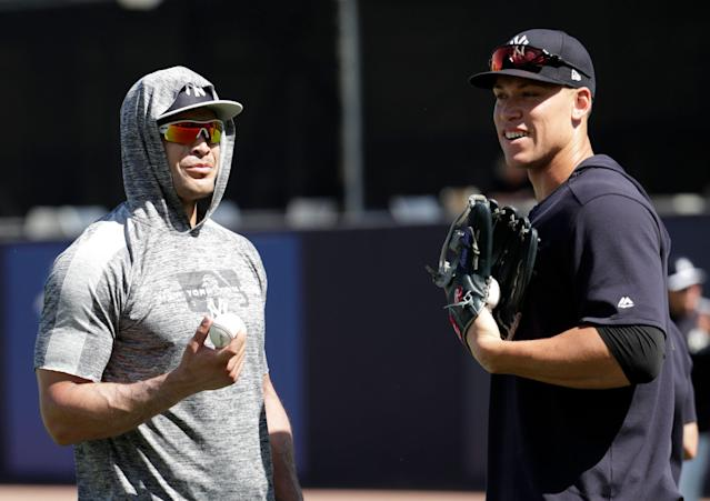 """The <a class=""""link rapid-noclick-resp"""" href=""""/mlb/teams/ny-yankees/"""" data-ylk=""""slk:Yankees"""">Yankees</a> are projected by Steamer to hit 247 home runs, which would be the eighth-most for a team ever. (Associated Press)"""