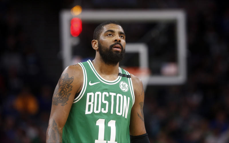 A nagging left knee injury could keep Kyrie Irving on the shelf for a few games. (AP)