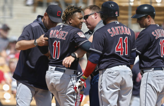 Cleveland Indians' Jose Ramirez (11) is helped to his feet after an injury during the third inning of the team's spring training baseball game against the Chicago White Sox on Sunday, March 24, 2019, in Glendale, Ariz. From left are manager Terry Francona, Ramirez, athletic trainer Jeff Desjardins, Carlos Santana (41) and third base coach Mike Sarbaugh (16). (AP Photo/Sue Ogrocki)