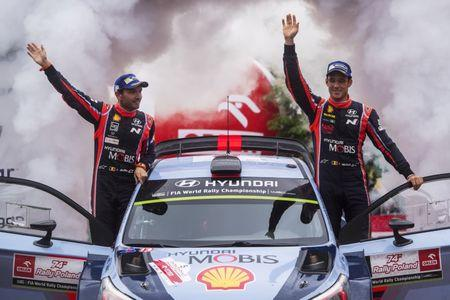 Thierry Neuville (BEL), Nicolas Gilsoul (BEL) celebrate the podium during the FIA World Rally Championship 2017 in Mikolajki, Poland on July 2, 2017 // Jaanus Ree/Red Bull Content Pool.