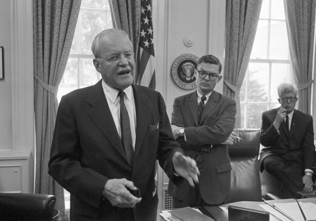 "<p>Allen Dulles tells reporters in a White House news conference that he has recommended to President Johnson stepped-up FBI activity to ""control and prosecute terroristic activities"" in Mississippi, June 26, 1964. The former CIA director conferred with the president for almost two hours after returning from Mississippi, where three civil rights workers are missing. (Photo: Bob Schutz/AP) </p>"