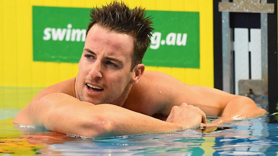 Pictured here, James Magnussen in the pool after a swimming race in Australia.