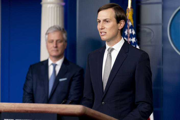 President Donald Trump's White House senior adviser Jared Kushner, right, accompanied by White House national security adviser Robert O'Brien, left, speaks at a press briefing in the James Brady Press Briefing Room at the White House in Washington, Thursday, Aug. 13, 2020, after Trump announced that the United Arab Emirates and Israel have agreed to establish full diplomatic ties as part of a deal to halt the annexation of occupied land sought by the Palestinians for their future state. (AP Photo/Andrew Harnik)