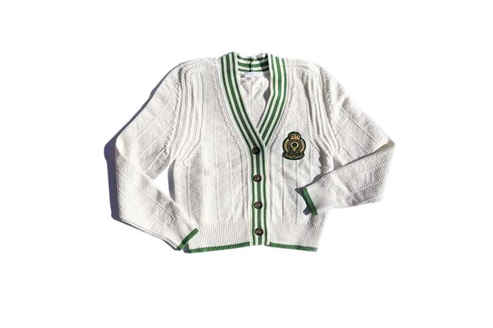 "$498, Suzanne Rae. <a href=""https://suzannerae.com/collections/sale/products/knit-cardigan-with-feminist-crest-whitegreen"" rel=""nofollow noopener"" target=""_blank"" data-ylk=""slk:Get it now!"" class=""link rapid-noclick-resp"">Get it now!</a>"