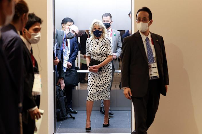 U.S. First Lady, Jill Biden arrives prior to the Opening Ceremony of the Tokyo 2020 Olympic Games at Olympic Stadium
