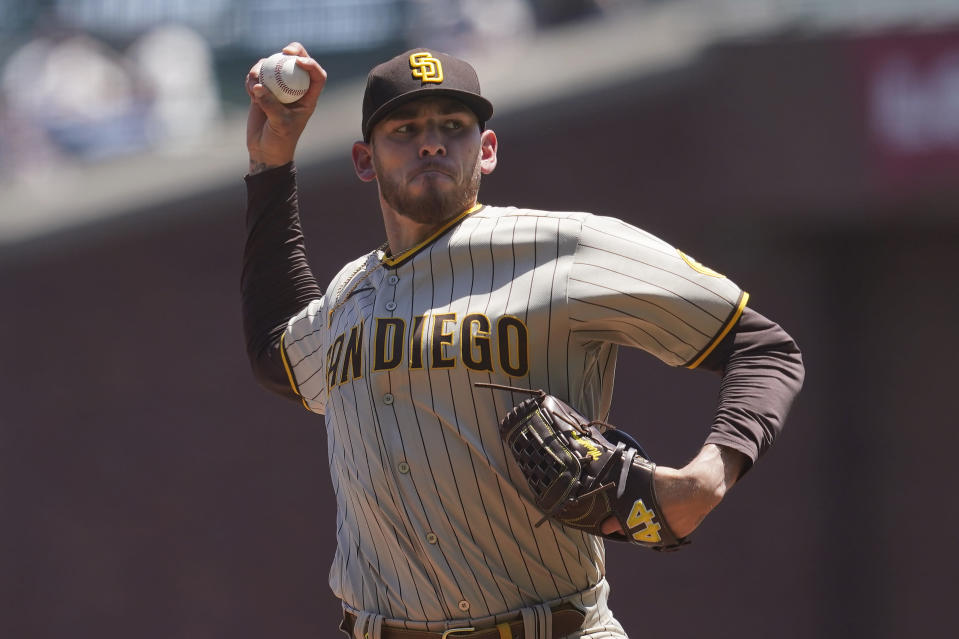 San Diego Padres' Joe Musgrove pitches against the San Francisco Giants during the first inning of a baseball game in San Francisco, Saturday, May 8, 2021. (AP Photo/Jeff Chiu)
