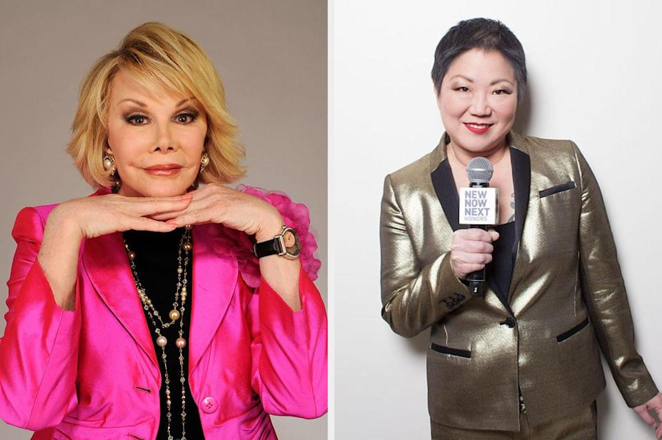 Joan Rivers and Margaret Cho, both in blazers
