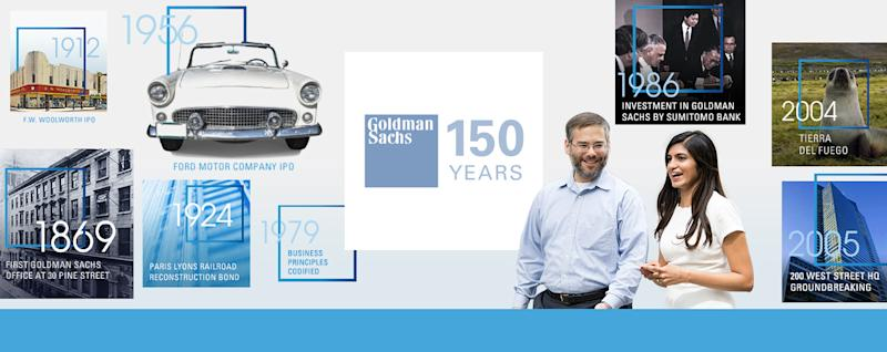 Goldman Sachs 150th anniversary graphic