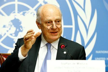 U.N. Special Envoy for Syria Staffan de Mistura attends a news conference during the Intra Syria talks at the United Nations Offices in Geneva