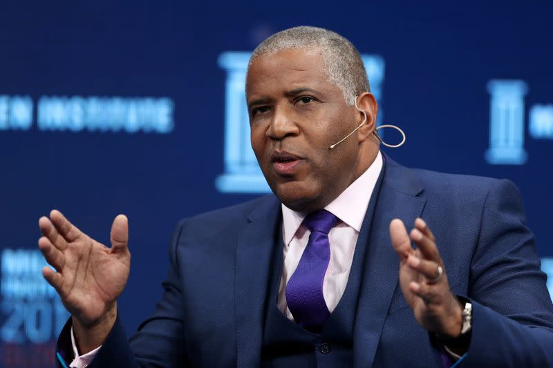 FILE PHOTO: Robert Smith, Founder, Chairman and CEO, Vista Equity Partners, speaks at the Milken Institute's 21st Global Conference in Beverly Hills