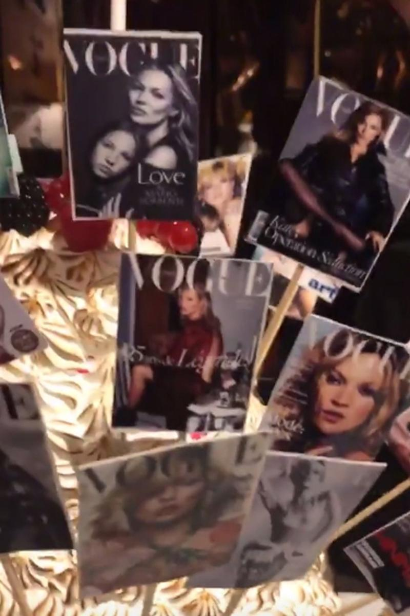 Birthday treat: the cake was decorated with miniature Vogue covers (Instagram: Meg Mathews)
