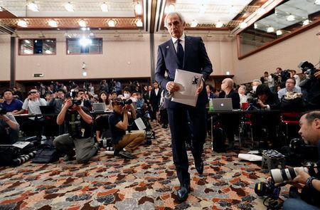 Vahid Halilhodzic, who was fired from his position as Japan national soccer team head coach, arrives at a news conference at the Japan National Press Club in Tokyo, Japan, April 27, 2018. REUTERS/Toru Hanai