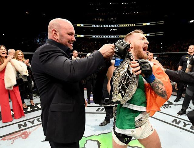 Conor McGregor of Ireland celebrates his KO victory over Eddie Alvarez of the United States in their lightweight championship bout during the UFC 205 event at Madison Square Garden on November 12, 2016 in New York City. (Photo by Jeff Bottari/Zuffa LLC/Zuffa LLC via Getty Images)Con