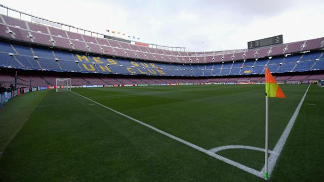 Following violent clashes around Sunday's referendum, Barcelona's match against Las Palmas kicked off at an empty Camp Nou.