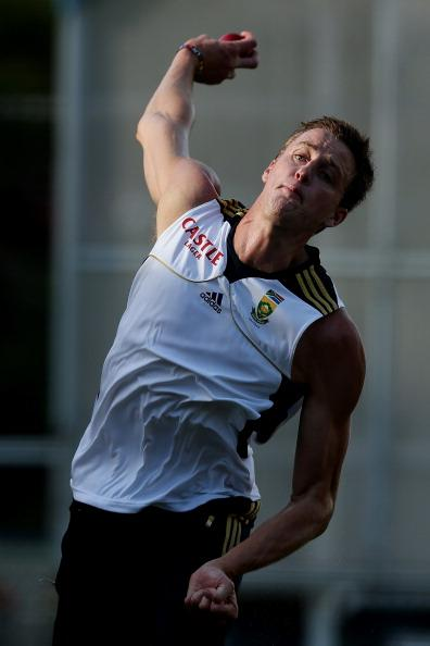 BRISBANE, AUSTRALIA - NOVEMBER 07:  Morney Morkel  bowls during a South African nets session at The Gabba on November 7, 2012 in Brisbane, Australia.  (Photo by Chris Hyde/Getty Images)