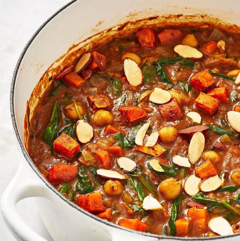 """<p>If you've got a well stocked cupboard, you should have all these ingredients already in stock. This curry is seriously worth the TLC.</p><p>Get the <a href=""""https://www.delish.com/uk/cooking/recipes/a29782603/sweet-potato-chickpea-curry/"""" rel=""""nofollow noopener"""" target=""""_blank"""" data-ylk=""""slk:Sweet Potato And Chickpea Curry"""" class=""""link rapid-noclick-resp"""">Sweet Potato And Chickpea Curry</a> recipe.</p>"""