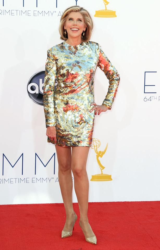 Christine Baranski arrives at the 64th Primetime Emmy Awards at the Nokia Theatre in Los Angeles on September 23, 2012.