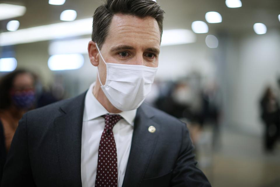 Sen. Josh Hawley (R-MO) arrives at the U.S. Capitol on the third day of former President Donald Trump's impeachment trial on February 11, 2021 in Washington, DC. (Chip Somodevilla/Getty Images)