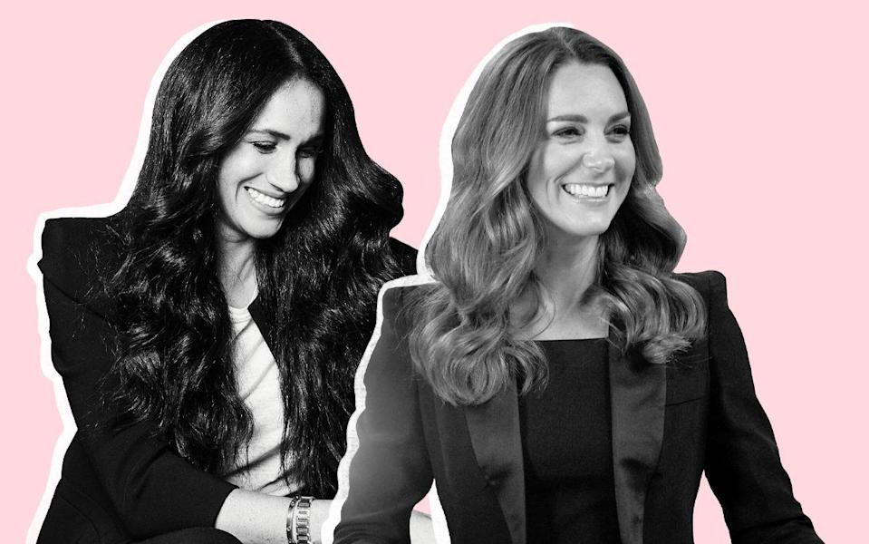 The Duchess of Cambridge and the Duchess of Sussex wearing black tuxedos this week