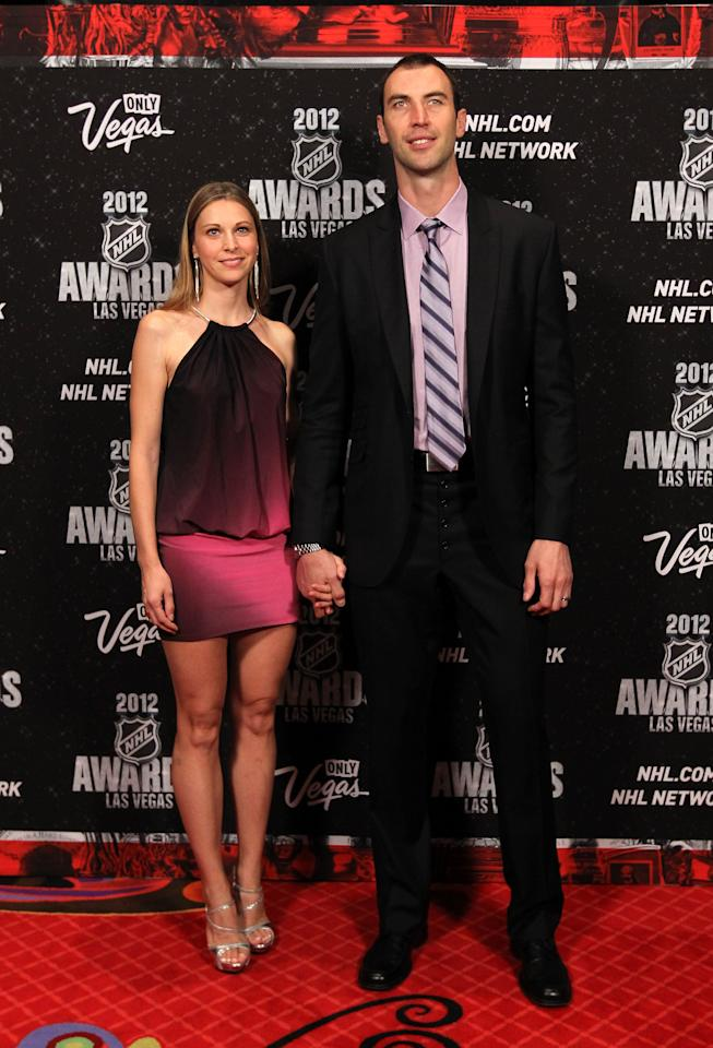 LAS VEGAS, NV - JUNE 20:  Zdeno Chara of the Boston Bruins arrives with guest before the 2012 NHL Awards at the Encore Theater at the Wynn Las Vegas on June 20, 2012 in Las Vegas, Nevada.  (Photo by Bruce Bennett/Getty Images)