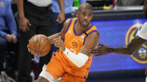 Phoenix Suns guard Chris Paul (3) in the first half of Game 3 of an NBA second-round playoff series Friday, June 11, 2021, in Denver. (AP Photo/David Zalubowski)