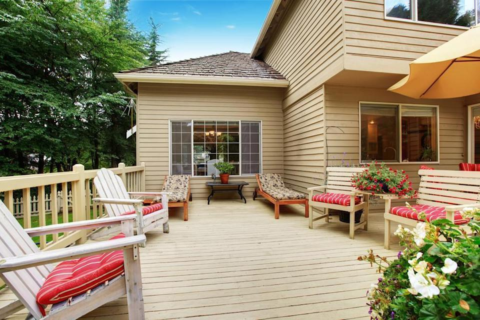 """<p>As the weather begins to become warmer, people are thinking about refreshing their outside areas. On Pinterest, there has been a 97% increase in searches for deck renovation ideas. Before you get started on your renovations, try following these <a href=""""https://www.theactivetimes.com/personal-finance/diy-home-maintenance-tips?referrer=yahoo&category=beauty_food&include_utm=1&utm_medium=referral&utm_source=yahoo&utm_campaign=feed"""" rel=""""nofollow noopener"""" target=""""_blank"""" data-ylk=""""slk:DIY home maintenance tips"""" class=""""link rapid-noclick-resp"""">DIY home maintenance tips</a>.</p>"""