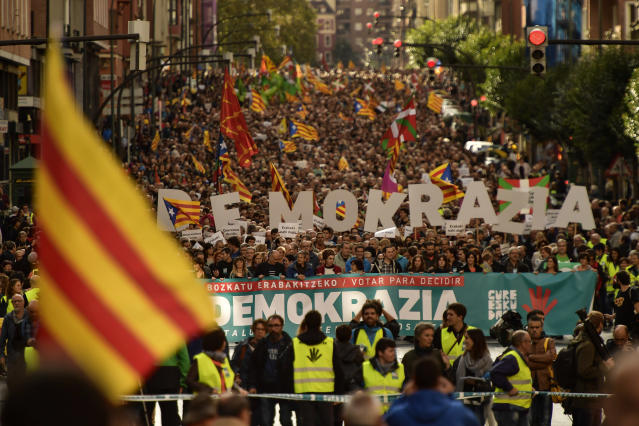 "<p>Pro independence supporters wave ""estelada"" or pro independence flags during a rally in support for the secession of the Catalonia region from Spain, in Bilbao, northern Spain, Saturday, Sept. 16, 2017. (Photo: Alvaro Barrientos/AP) </p>"