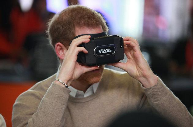 Harry tries out a VR headset during a visit to Millennium Point to celebrate International Women's Day