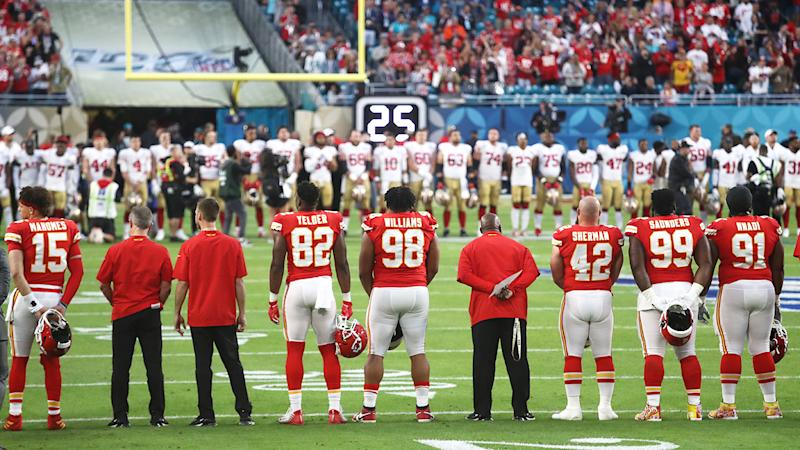 The San Francisco 49ers and Kansas City Chiefs, pictured here observing a moment of silence to honour Kobe Bryant.