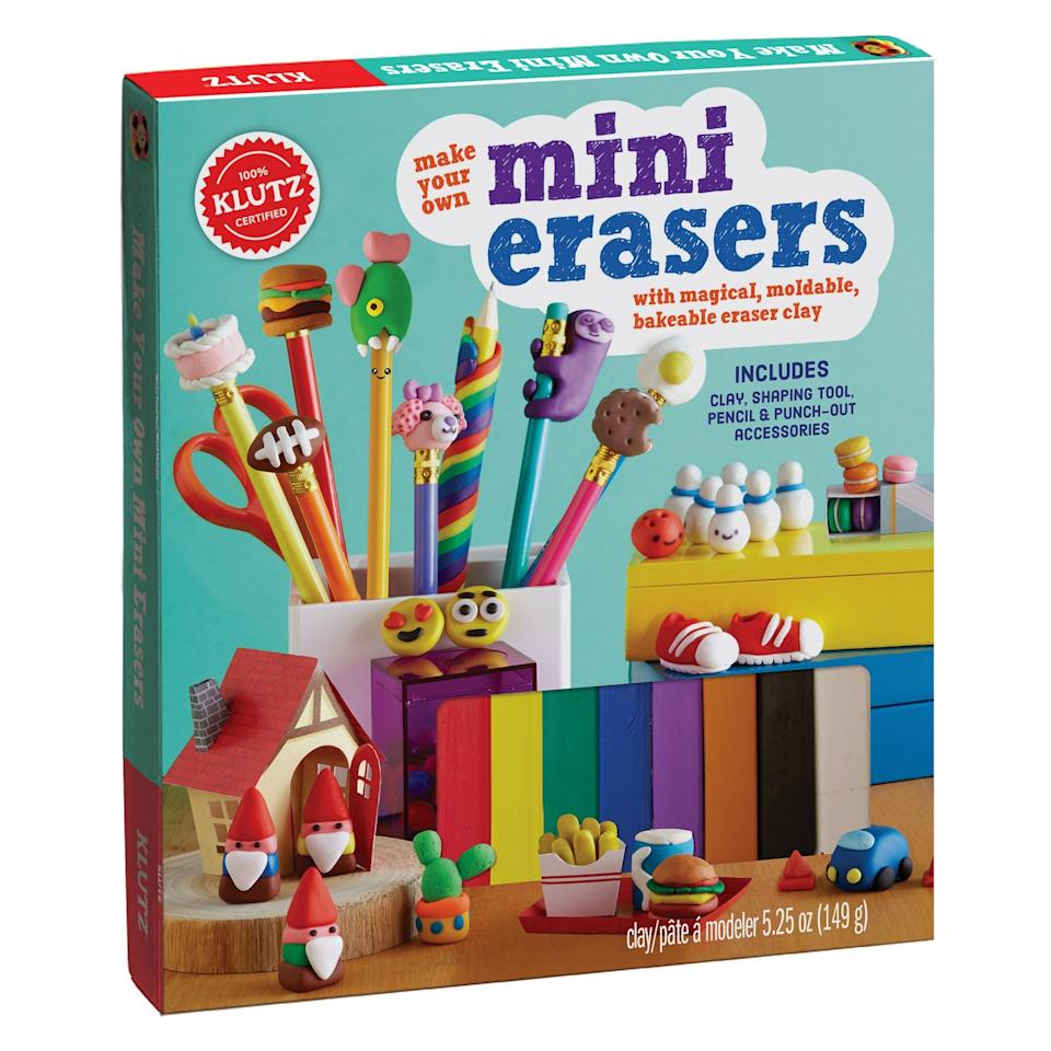 """<p>You'll be hard-pressed to find erasers as cute as the ones your kids will create with <a href=""""https://www.popsugar.com/buy/Klutz-Mini-Erasers-kit-398759?p_name=Klutz%27s%20Mini%20Erasers%20kit&retailer=walmart.com&pid=398759&price=17&evar1=moms%3Aus&evar9=25997679&evar98=https%3A%2F%2Fwww.popsugar.com%2Fphoto-gallery%2F25997679%2Fimage%2F42741345%2FMake-Your-Own-Mini-Erasers&list1=holiday%2Cgift%20guide%2Ckid%20shopping%2Choliday%20living%2Choliday%20for%20kids&prop13=api&pdata=1"""" rel=""""nofollow"""" data-shoppable-link=""""1"""" target=""""_blank"""" class=""""ga-track"""" data-ga-category=""""Related"""" data-ga-label=""""https://www.walmart.com/ip/Make-Your-Own-Mini-Erasers-Kit/53596752?wmlspartner=wlpa&amp;selectedSellerId=0&amp;adid=22222222227079915735&amp;wmlspartner=wmtlabs&amp;wl0=&amp;wl1=g&amp;wl2=c&amp;wl3=192457275754&amp;wl4=pla-303110748650&amp;wl5=1014221&amp;wl6=&amp;wl7=&amp;wl8=&amp;wl9=pla&amp;wl10=8175035&amp;wl11=online&amp;wl12=53596752&amp;wl13=&amp;veh=sem&amp;gclid=EAIaIQobChMIrpmWxNGb3wIVhaDsCh3ekw_3EAQYASABEgKVWvD_BwE"""" data-ga-action=""""In-Line Links"""">Klutz's Mini Erasers kit</a> ($17).</p>"""