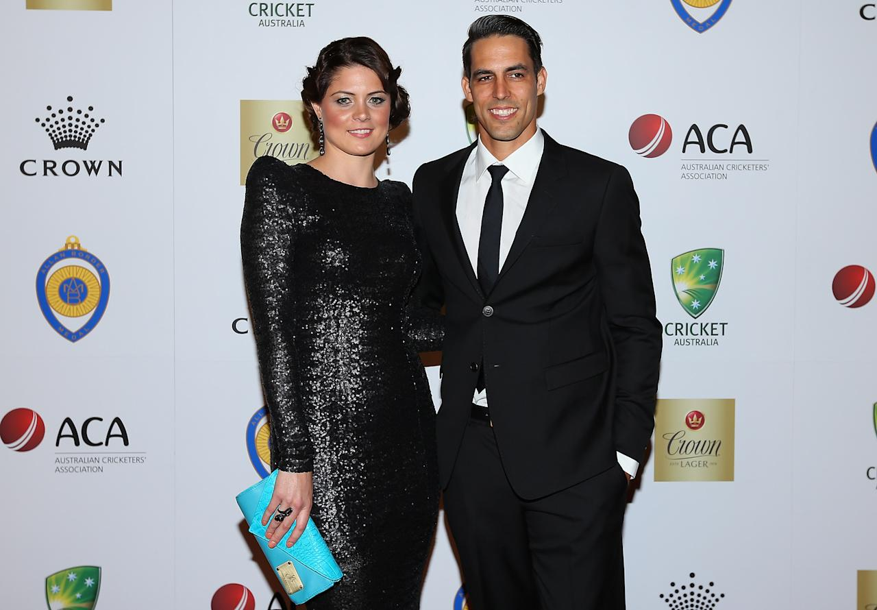 MELBOURNE, AUSTRALIA - FEBRUARY 04:  Mitchell Johnson of Australia and his wife Jessica Johnson arrive at the 2013 Allan Border Medal awards ceremony at Crown Palladium on February 4, 2013 in Melbourne, Australia.  (Photo by Quinn Rooney/Getty Images)