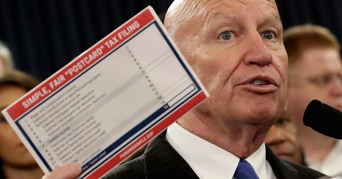 Getty Images. The new tax bill unveiled by Republicans Thursday is so simple that taxpayers will be able to file using a postcard, according to GOP lawmakers.
