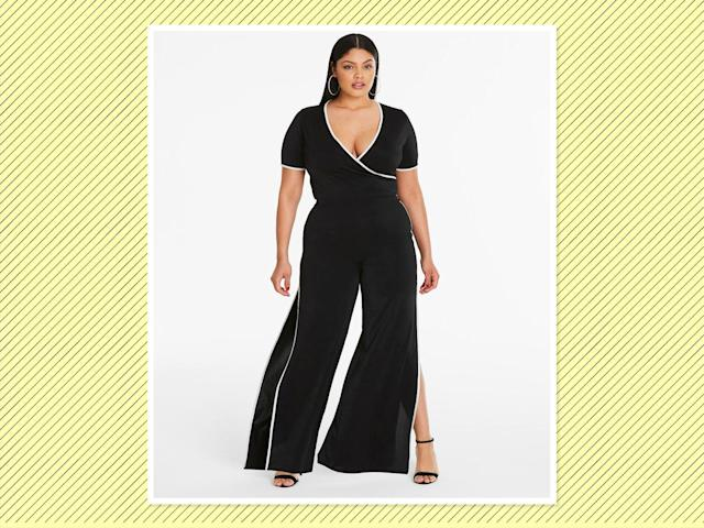 """<p><a href=""""https://www.simplybe.com/en-us/products/sports-rib-wrap-over-crop-top/p/WZ611#v=color%3AWZ611_BLACK%7C"""" rel=""""nofollow noopener"""" target=""""_blank"""" data-ylk=""""slk:Sports Rib Wrap Over Crop Top"""" class=""""link rapid-noclick-resp"""">Sports Rib Wrap Over Crop Top</a>, $33, and <a href=""""https://www.simplybe.com/en-us/products/sports-rib-wrap-over-crop-top/p/WZ611#v=color%3AWZ611_BLACK%7C"""" rel=""""nofollow noopener"""" target=""""_blank"""" data-ylk=""""slk:Split Side Trouser"""" class=""""link rapid-noclick-resp"""">Split Side Trouser</a>, $46, Simply Be (Photo: Simply Be) </p>"""