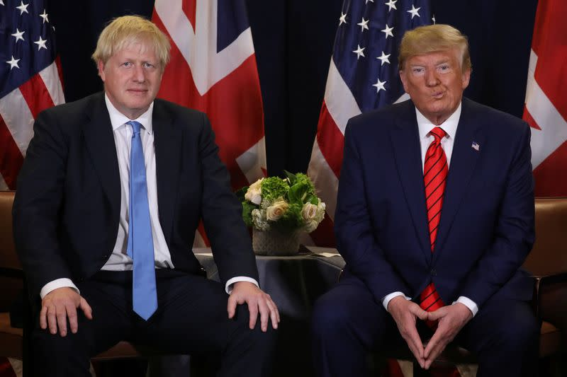 U.S. President Trump meets with British Prime Minister Johnson on sidelines of U.N. General Assembly in New York City
