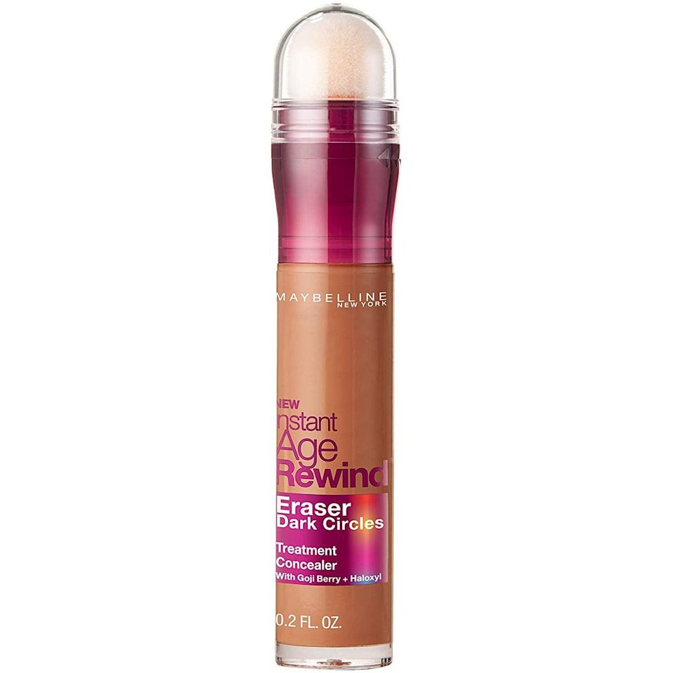 """<p>The <a href=""""https://www.popsugar.com/buy/Maybelline-Instant-Age-Rewind-Eraser-Treatment-Makeup-360235?p_name=Maybelline%20Instant%20Age%20Rewind%20Eraser%20Treatment%20Makeup&retailer=amazon.com&pid=360235&price=8&evar1=bella%3Aus&evar9=46398513&evar98=https%3A%2F%2Fwww.popsugar.com%2Fphoto-gallery%2F46398513%2Fimage%2F46398535%2FBest-Concealer-Dark-Circles&list1=makeup%2Cbeauty%20products%2Cconcealer&prop13=api&pdata=1"""" class=""""link rapid-noclick-resp"""" rel=""""nofollow noopener"""" target=""""_blank"""" data-ylk=""""slk:Maybelline Instant Age Rewind Eraser Treatment Makeup"""">Maybelline Instant Age Rewind Eraser Treatment Makeup</a> ($8) might be a real-life magic wand. Simply twist the product up for the concealer to come out of the sponge applicator and sweep in under your eyes to look like you slept a full eight hours.</p>"""