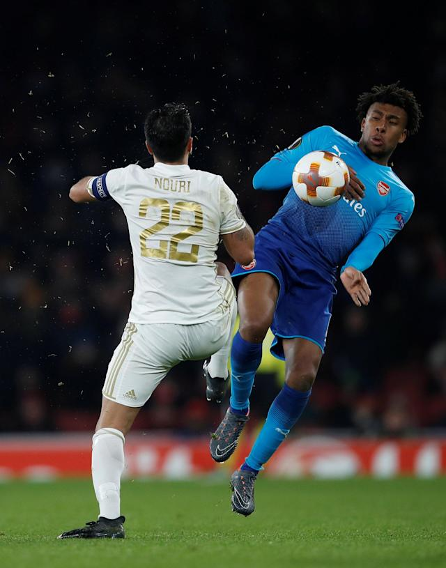 Soccer Football - Europa League Round of 32 Second Leg - Arsenal vs Ostersunds FK - Emirates Stadium, London, Britain - February 22, 2018 Arsenal's Alex Iwobi in action with Ostersunds FK's Brwa Nouri REUTERS/Eddie Keogh