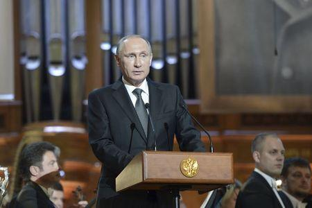 Russian President Vladimir Putin delivers a speech at the gala concert of the 15th International Tchaikovsky Competition at the Moscow Conservatory
