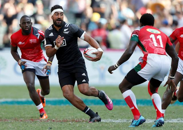 Rugby Union - Kenya v New Zealand - World Rugby Sevens Series - Hong Kong Stadium, Hong Kong, China - April 8, 2018 - New Zealand's Amanaki Nicole runs with the ball. REUTERS/Bobby Yip