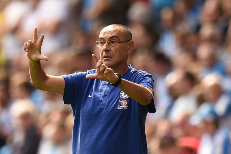 Chelsea coach Maurizio Sarri on the touchline during a Premier League match away to Huddersfield on August 11