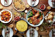 """<p>This down-home gathering has a hint of Texas twang (deep-fried turkey! cranberry salsa!) and is perfect for the casual, potluck kind of crowd. Opt for simple dishes (serve the chili spoonbread straight out of the cast iron skillet!) and use wood slices instead of chargers.</p><p><strong>Main Course:</strong></p><p><a href=""""https://www.countryliving.com/food-drinks/recipes/a5866/fried-thanksgiving-turkey-recipe-clx1114/"""" rel=""""nofollow noopener"""" target=""""_blank"""" data-ylk=""""slk:Fried Turkey"""" class=""""link rapid-noclick-resp"""">Fried Turkey</a></p><p><strong>Sides:</strong></p><p><a href=""""https://www.countryliving.com/food-drinks/recipes/a5869/pickled-peach-cranberry-salsa-recipe-clx1114/"""" rel=""""nofollow noopener"""" target=""""_blank"""" data-ylk=""""slk:Pickled Peach-and-Cranberry Salsa"""" class=""""link rapid-noclick-resp"""">Pickled Peach-and-Cranberry Salsa</a></p><p><a href=""""https://www.countryliving.com/food-drinks/recipes/a5872/jalapeno-green-chile-spoonbread-recipe-clx1114/"""" rel=""""nofollow noopener"""" target=""""_blank"""" data-ylk=""""slk:Jalapeño-Green Chili Spoonbread"""" class=""""link rapid-noclick-resp"""">Jalapeño-Green Chili Spoonbread</a></p><p><a href=""""https://www.countryliving.com/food-drinks/recipes/a5898/baked-kale-gratin-recipe-clx1114/"""" rel=""""nofollow noopener"""" target=""""_blank"""" data-ylk=""""slk:Baked Kale Gratin"""" class=""""link rapid-noclick-resp"""">Baked Kale Gratin</a></p><p><a href=""""https://www.countryliving.com/food-drinks/recipes/a5913/sorghum-sweet-potatoes-recipe-clx1114/"""" rel=""""nofollow noopener"""" target=""""_blank"""" data-ylk=""""slk:Sorghum-Glazed Sweet Potatoes"""" class=""""link rapid-noclick-resp"""">Sorghum-Glazed Sweet Potatoes</a></p><p><strong>Desserts:</strong></p><p><a href=""""https://www.countryliving.com/food-drinks/recipes/a5859/apples-crostata-recipe-clx1114/"""" rel=""""nofollow noopener"""" target=""""_blank"""" data-ylk=""""slk:Apple Crostata"""" class=""""link rapid-noclick-resp"""">Apple Crostata</a></p><p><a href=""""https://www.countryliving.com/food-drinks/recipes/a5863/granola-pecan-pie-recipe-clx1114/"""" rel=""""nofollow n"""
