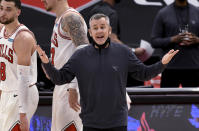 Chicago Bulls coach Billy Donovan yells during the second half of the team's NBA basketball game against the Toronto Raptors on Thursday, April 8, 2021, in Tampa, Fla. (AP Photo/Jason Behnken)
