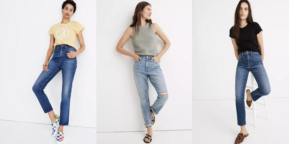 """<p>If you, too, could use some space from the groutfits and beloved joggers you've been living in the past six months, you're in luck. Madewell has steep discounts on <a href=""""https://www.madewell.com/womens/sale/jeans-for-75?gridtype=four-up"""" rel=""""nofollow noopener"""" target=""""_blank"""" data-ylk=""""slk:several best-selling jeans"""" class=""""link rapid-noclick-resp"""">several best-selling jeans</a> now through October 11, with some denim retailing as low as $75. All you have to do is use promo code <strong>STOCKUP</strong> to enjoy the savings. Madewell is also taking <a href=""""https://www.madewell.com/womens/sale?scroll=67"""" rel=""""nofollow noopener"""" target=""""_blank"""" data-ylk=""""slk:an extra 30 percent"""" class=""""link rapid-noclick-resp"""">an extra 30 percent</a> off new fall styles, including a fresh crop of knits and leather shoes. </p><p>The timing of this sale couldn't be better with the official arrival of <a href=""""https://www.cosmopolitan.com/style-beauty/fashion/g10327302/cute-fall-outfits/"""" rel=""""nofollow noopener"""" target=""""_blank"""" data-ylk=""""slk:sweater weather"""" class=""""link rapid-noclick-resp"""">sweater weather</a>. There's just something about pairing a cozy turtleneck with a great pair of jeans that hits different. That said, we've rounded up the best finds to shop from Madewell's sale, below. Since it includes a handful of already reduced styles, you'll see that some of the jeans (plus a few sweater finds) wind up costing less than $75 (!!). Happy shopping!</p>"""