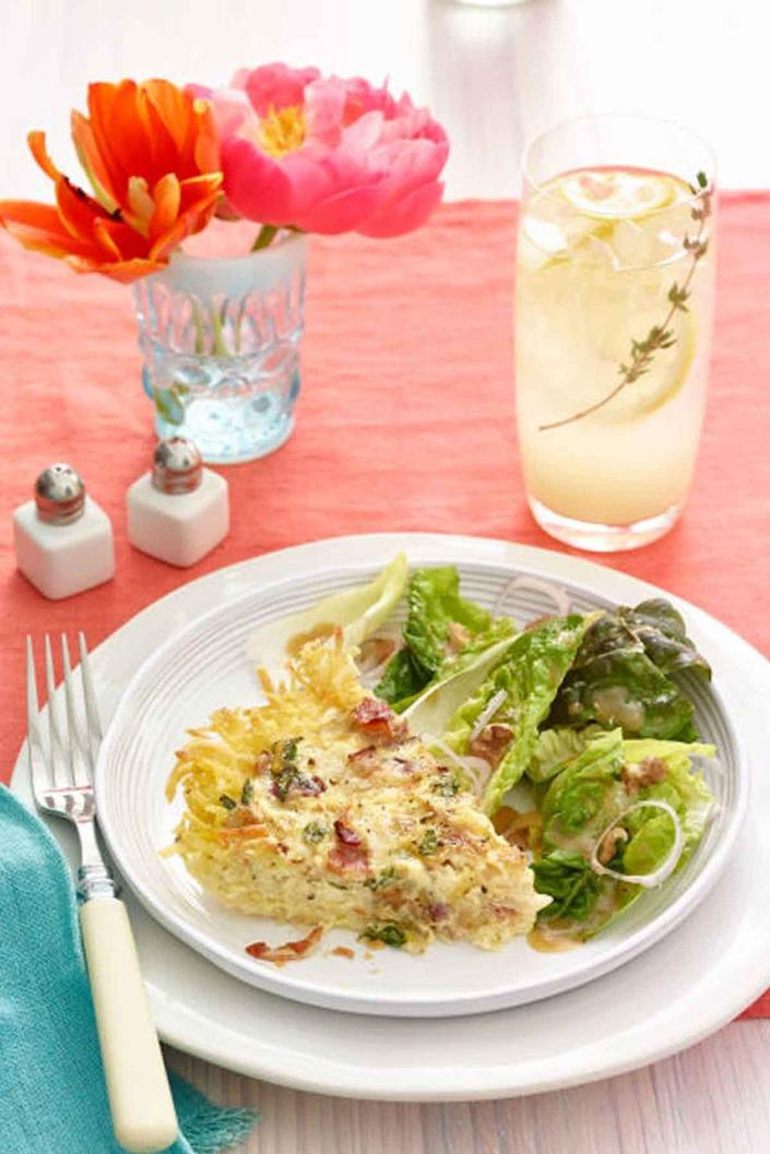 """<p>This simple salad offers up something light and green to balance the decadence of the rest of the menu. Pair it with a <a href=""""https://www.womansday.com/food-recipes/food-drinks/recipes/a9982/spring-vegetable-frittata-recipe-121142/"""" rel=""""nofollow noopener"""" target=""""_blank"""" data-ylk=""""slk:frittata packed with spring vegetables"""" class=""""link rapid-noclick-resp"""">frittata packed with spring vegetables</a>.</p><p><strong><em><a href=""""https://www.womansday.com/food-recipes/food-drinks/recipes/a54427/spring-salad-with-mint-walnuts-and-parmesan-recipe/"""" rel=""""nofollow noopener"""" target=""""_blank"""" data-ylk=""""slk:Get the Spring Salad with Mint, Walnuts, and Parmesan recipe"""" class=""""link rapid-noclick-resp"""">Get the Spring Salad with Mint, Walnuts, and Parmesan recipe</a>. </em></strong></p>"""