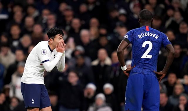 Tottenham Hotspur's Son Heung-min reacts as the VAR reviews a challenge that resulted in a red card for this challenge on Chelsea's Antonio Rudiger (Photo: EMPICS Sport)
