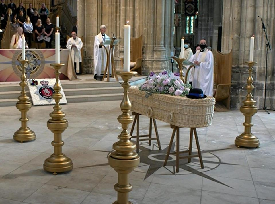 PCSO Julia James's coffin rests in front of the altar during her funeral service at Canterbury Cathedral (Canterbury Cathedral/PA) (PA Media)