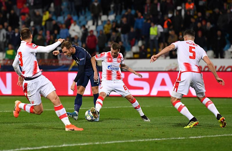 BELGRADE, SERBIA - NOVEMBER 06: Christian Eriksen of Tottenham Hotspur scores his sides fourth goal during the UEFA Champions League group B match between Crvena Zvezda and Tottenham Hotspur at Rajko Mitic Stadium on November 06, 2019 in Belgrade, Serbia. (Photo by Justin Setterfield/Getty Images)