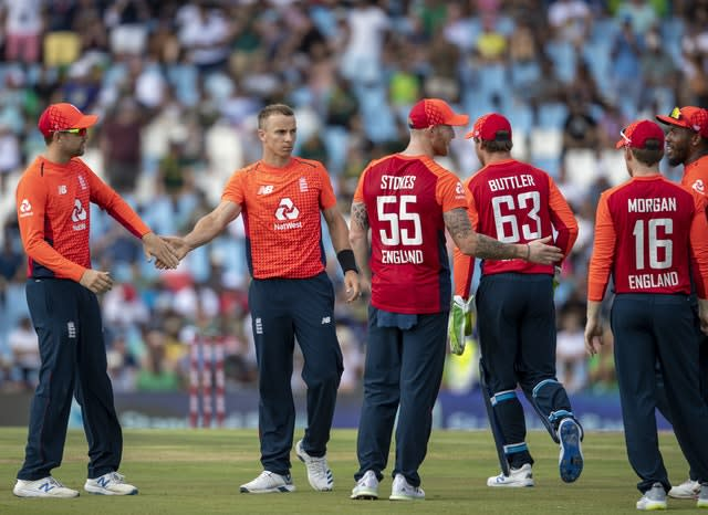 Tom Curran, second from left, impressed in South Africa (Themba Hadebe/AP)