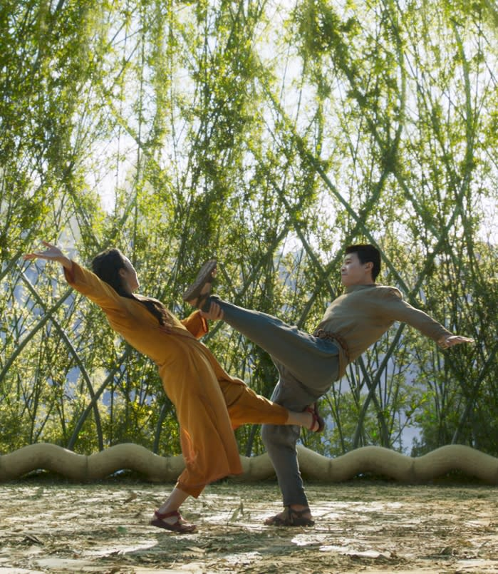 Michelle Yeoh and Simu Liu in Shang-chi And The Legend Of The Ten Rings. (Still: Disney)